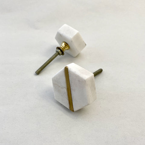 Hexagon White Stripe Marble and Brass Drawer Pull