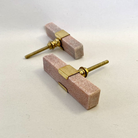 Long Pink Marble and Brass Drawer Pull