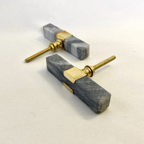 Long Grey Marble and Brass Drawer Pull