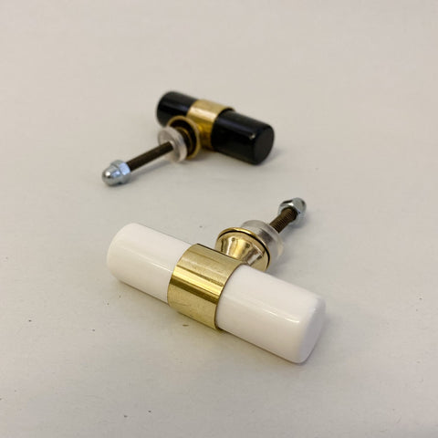 White Resin And Brass Tube Cabinet Knob