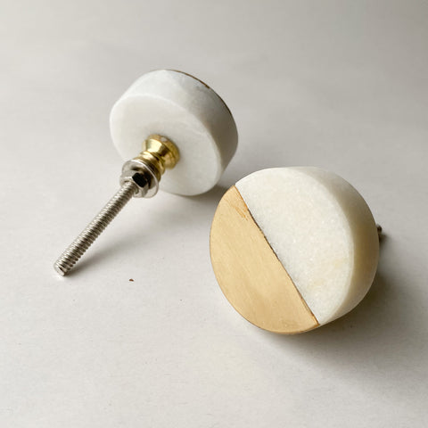 Round White Marble and Brass Round Drawer Pull