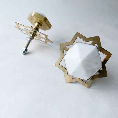 Marble & Brass Hexagon Drawer Pull