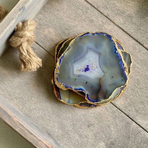 Blue Agate Coaster Slice