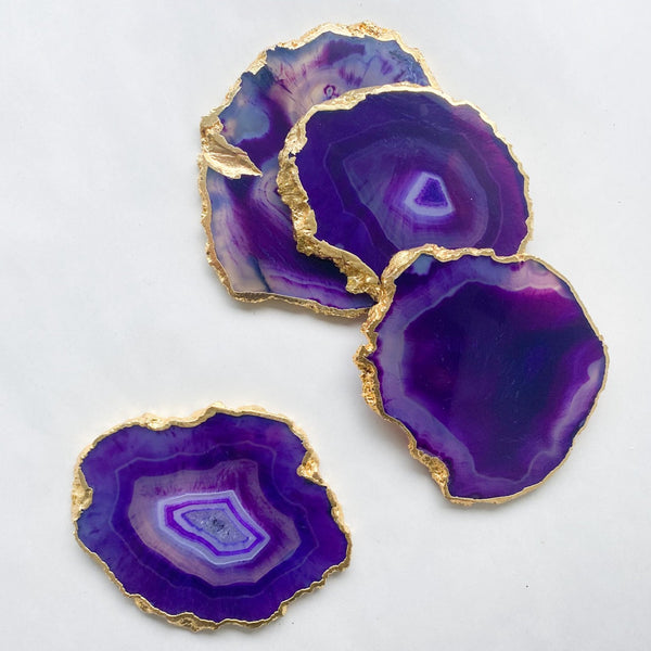 Purple Agate Coaster Slice