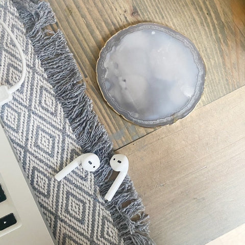 Natural Grey Round Agate Coaster