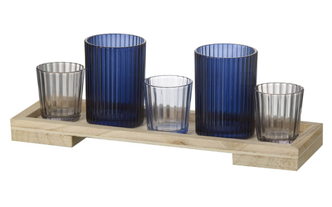 Blue Glass Tealight Holder and Tray
