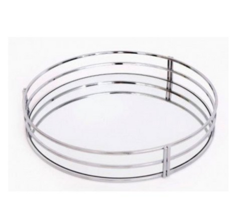 Silver Mirrored Round Tray