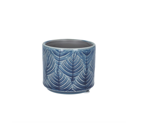 Navy Leaf Ceramic Pot Cover