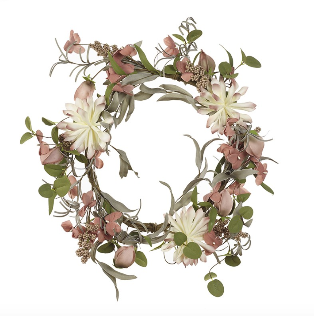 Spring Pink & White Flower Wreath