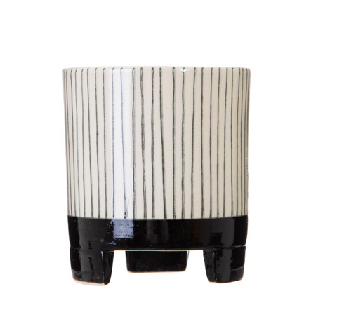 Stripe Black & White Geometric Planter