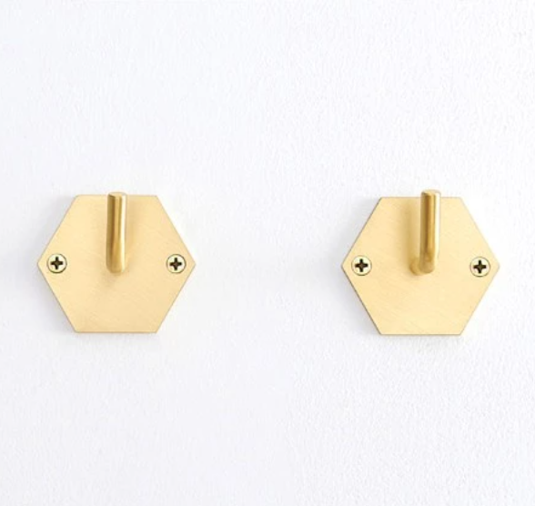 Brush Brass Hexagon Wall Hook