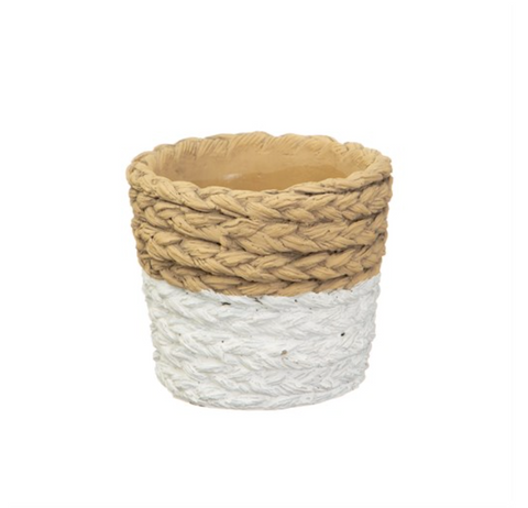 White Dip Cement Planter