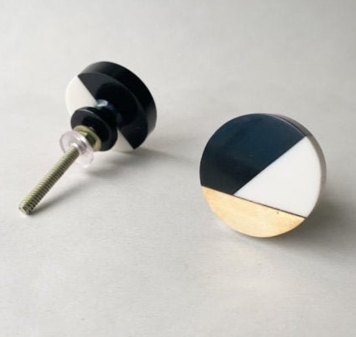 Round Geometric Resin Drawer Pull