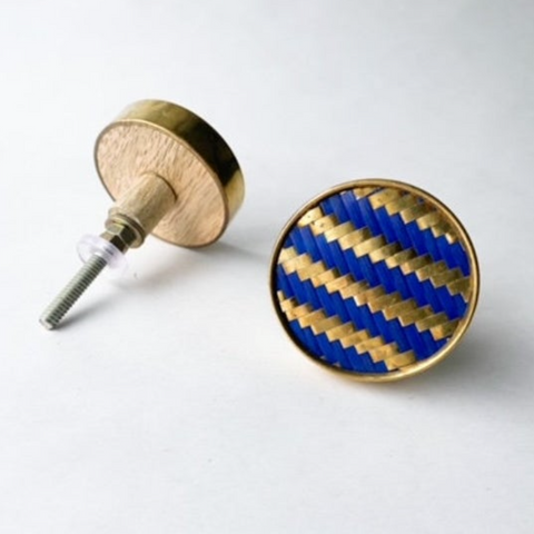 Round Blue & Gold Stripe Chevron Drawer Knob