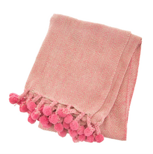 Pink Pom Pom Herringbone Throw