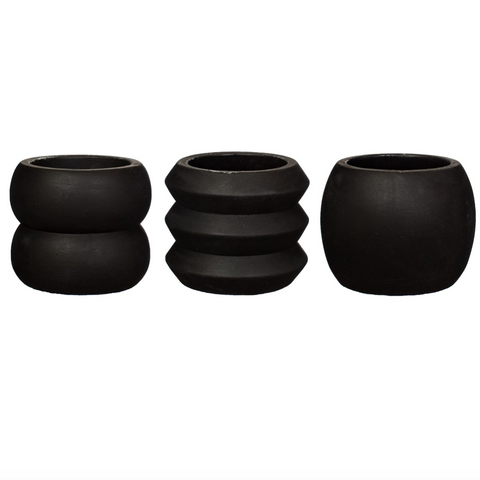 Set of 3 Black Totem Cement Planters