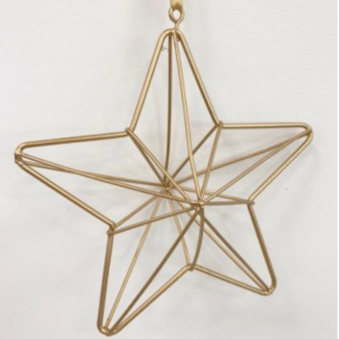 Gold Geometric Hanging Star Christmas Decoration