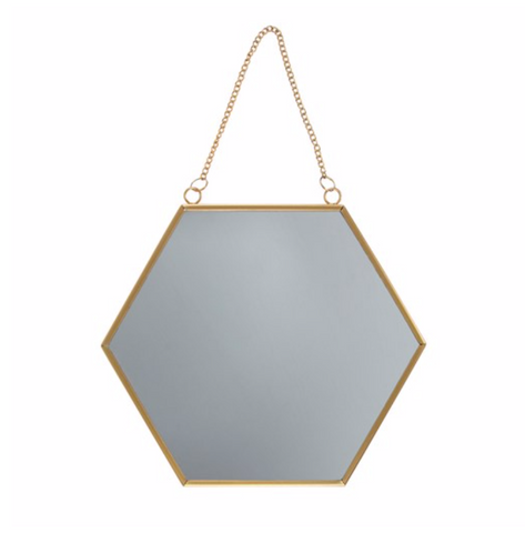 Gold Hanging Hexagon Mirror