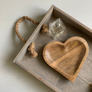 Wooden Heart Trinket Nibble Deco Dish
