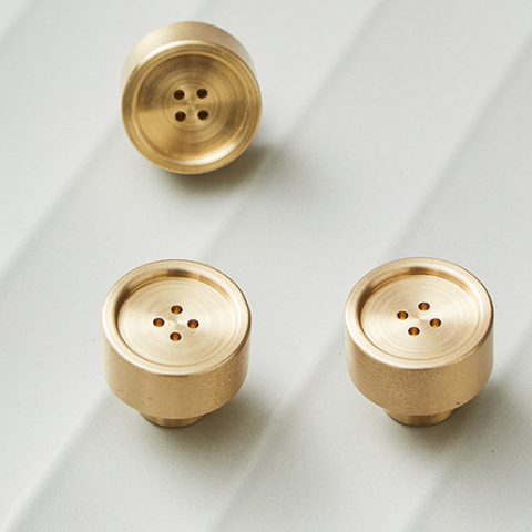 Brushed Brass Button Knob