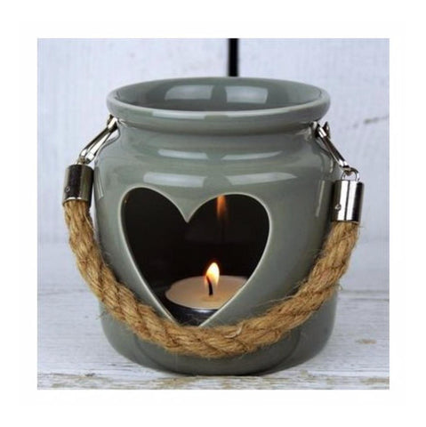 Green Grey Heart Lantern Candle Holder Wedding Home