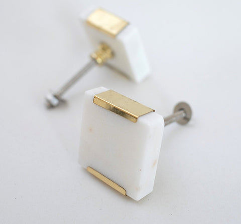 Square Marble and Brass Drawer Pull