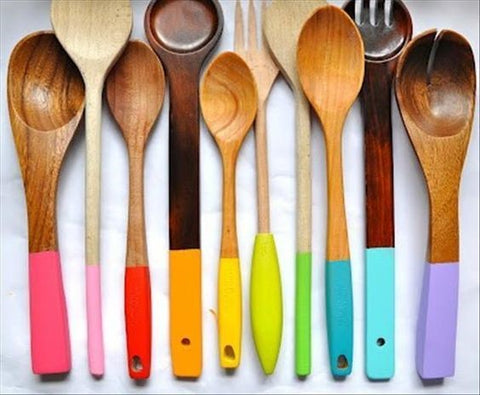 Plasti Dipped wooden cooking utensils