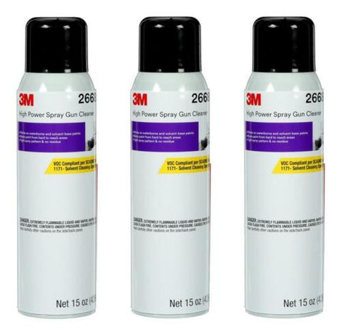 3 CANS OF 26689 SPRAY GUN CLEANER SOLVENT & H2O BASE CLEANER (15OZ)(3M-26689)