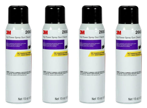 4 CANS OF 26689 SPRAY GUN CLEANER SOLVENT & H2O BASE CLEANER (15OZ)(3M-26689)