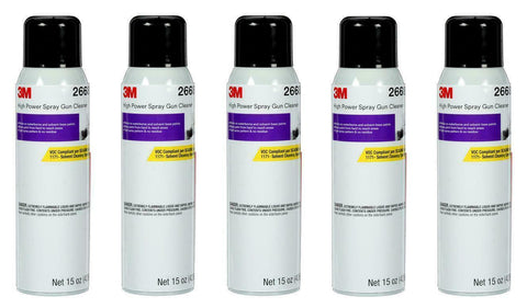 5 CANS OF 26689 SPRAY GUN CLEANER SOLVENT & H2O BASE CLEANER (15OZ)(3M-26689)