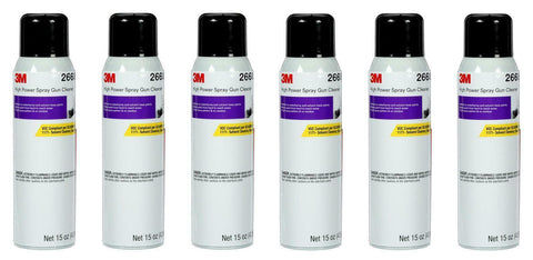 6 CANS OF 26689 SPRAY GUN CLEANER SOLVENT & H2O BASE CLEANER (15OZ)(3M-26689)