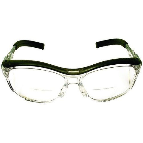 Reader Protective Eyewear, Clear Lens, Gray Frame, +1.5 D