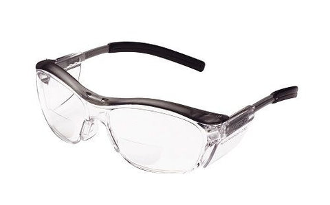 Reader Protective Eyewear, Clear Lens, Gray Frame, +2.5 D