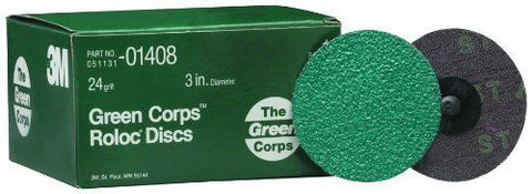 3-Inch 24 Grit Green Corps Roloc Grinding Disc
