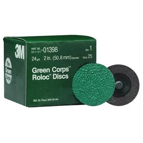 "Green Corps Roloc 2"" 24YF Grit Disc, 10 Pack"