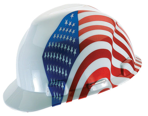 V-Gard Protective Cap, White with American Flag