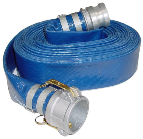 PVC Discharge Hose Assembly 1-1/2 Inch ID x 50 Feet, Blue