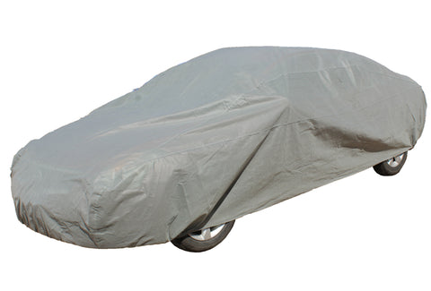 "Fabric Car Cover 170"" x 65"" x 47"" Universal Fit, Weather Resistant in Gray"