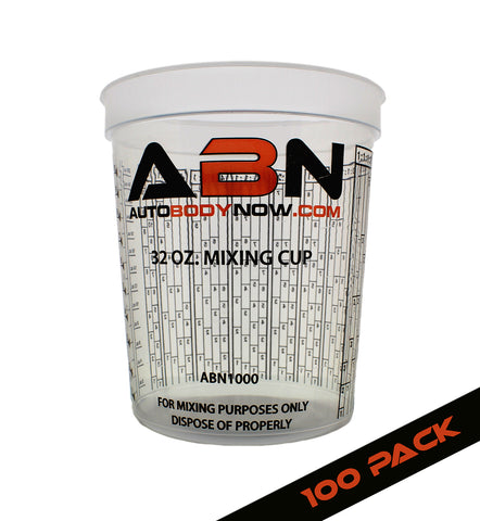 32oz / 946mL Paint Mixing Cup 100-Pack with Calibrated Mixing Ratios