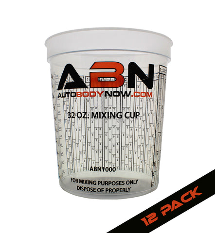 32oz / 946mL Paint Mixing Cup 12-Pack with Calibrated Mixing Ratios
