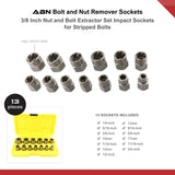 3/8 In Nut and Bolt Extractor Set Impact Sockets, 13 Pc