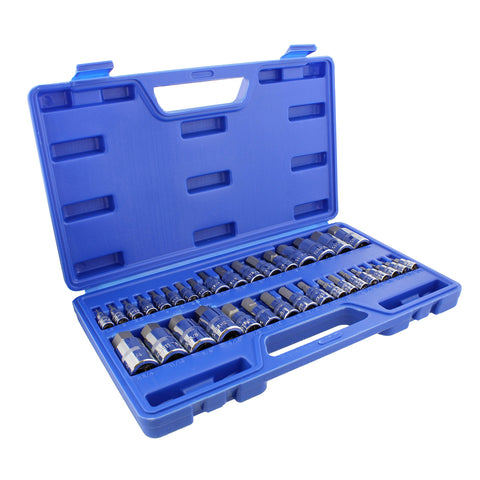 34 Pc Allen Socket Set SAE and Metric Hex Bit Set 3/8, 1/4, 1/2 Inch