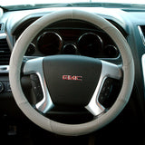 Grey Genuine Leather Luxury Steering Wheel Cover Wrap, Universal Fit 15-Inch