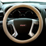 Beige PVC Leather Steering Wheel Cover, Universal Fit 15-Inch with Wrap Detail