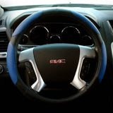 Blue PVC Leather Steering Wheel Cover, Universal Fit 15-Inch, Two-Toned