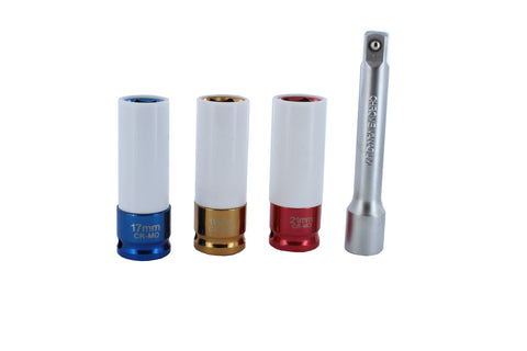 "1/2"" Inch Drive Lug Nut Socket & Extension Thin-Walled 4-Piece Set"