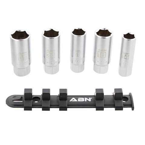 3/8 Inch Drive SAE Metric Spark Plug Socket Set 6 Pt with Rail, 5pc