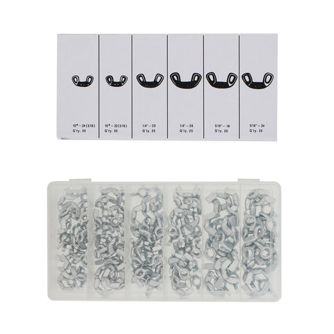 6 Popular Sizes Including 3//16 1//4 /& 5//16 150 Piece Wing Nut Assortment Kit