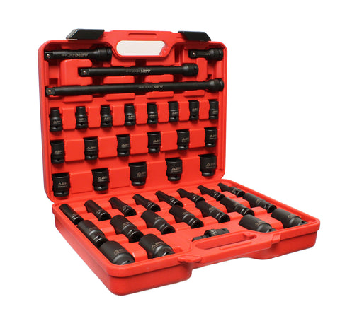 "1/2"" Inch Drive Metric Impact Socket Set w/ Extensions & Swivel Joint"