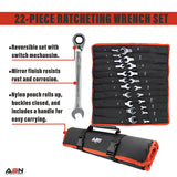 22-Piece Ratcheting Wrench Set Metric SAE Wrench Set Reversible Wrench